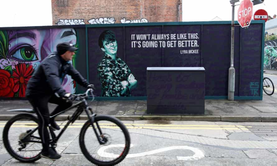 A mural of Lyra McKee in central Belfast