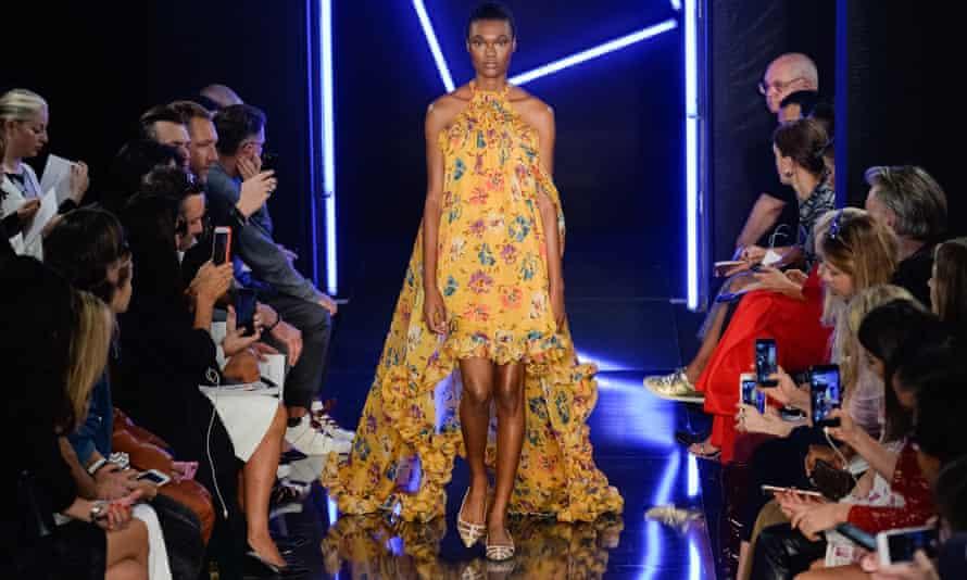 A model walks the runway during Paris fashion week
