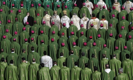 Bishops and cardinals attend a Mass celebrated by Pope Francis for the opening of a synod, a meeting of bishops, in St. Peter's Square, at the Vatican