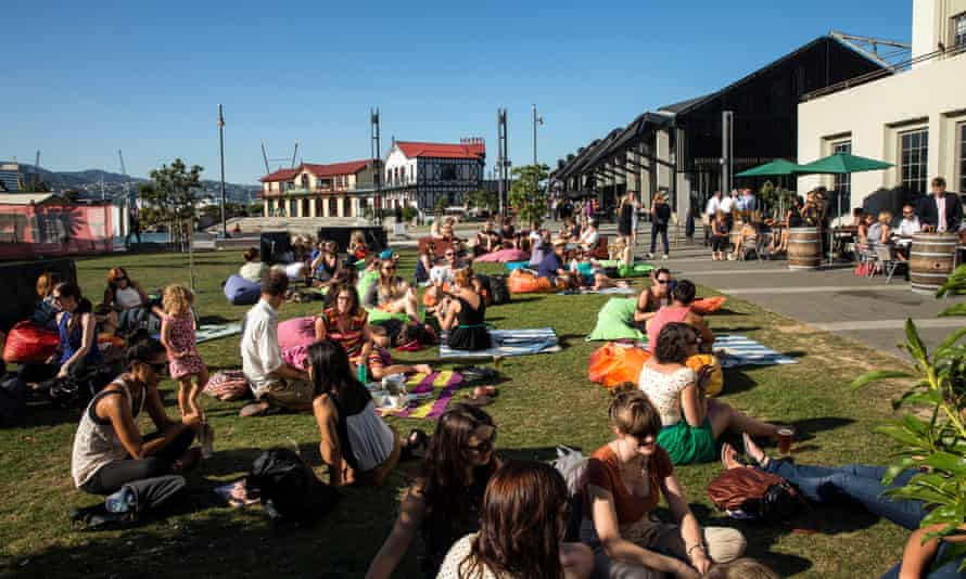 People relax on the Wellington waterfront
