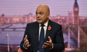 Britain's Chancellor of the Exchequer Sajid Javid appears on the BBC political programme The Andrew Marr Show