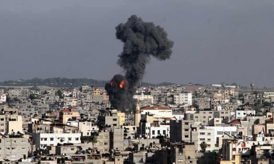 Smoke rises after an Israeli airstrike in Gaza.