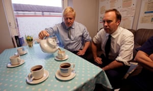 Boris Johnson and the health secretary, Matt Hancock, campaigning at a hospital in Worksop.