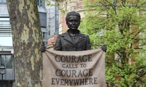Gillian Wearing's sculpture of Millicent Garrett Fawcett in Parliament Square, London