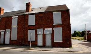 Boarded up houses in Mansfield: older industrial towns are social mobility 'coldspots'.