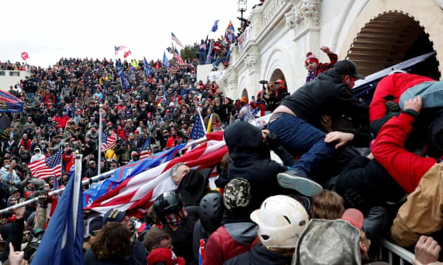Trump supporters force their way into the Capitol, Wednesday 6 January 2021.