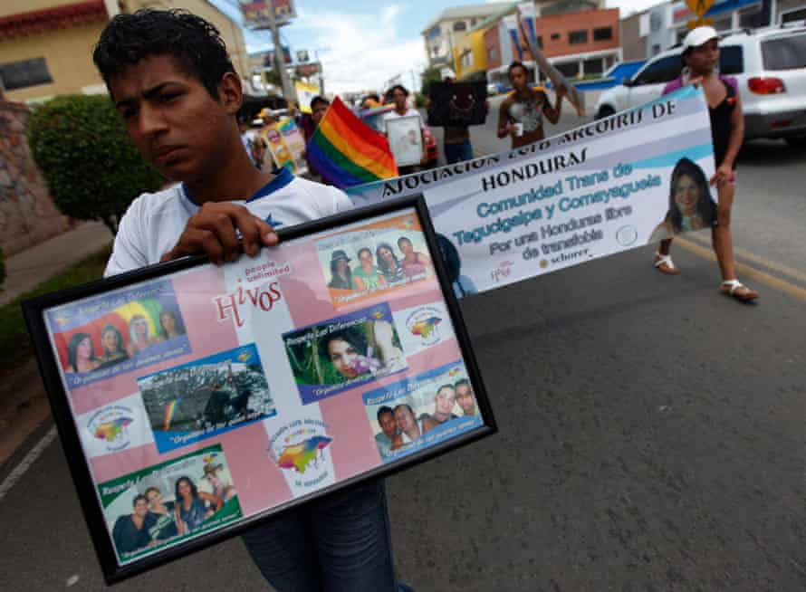 LGBTQ activists march against homophobia in Tegucigalpa, the capital of Honduras. a year after the murder of Vicky Hernández.