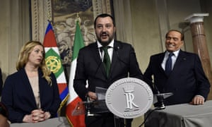 The League's Matteo Salvini (centre), with on-off ally Silvio Berlusconi (right) and Giorgia Meloni during consultations in Rome on 12 April.