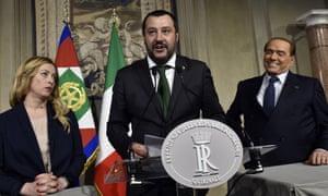 Matteo Salvini, Silvio Berlusconi e Giorgia Meloni a Roma, 12 Aprile 2018.