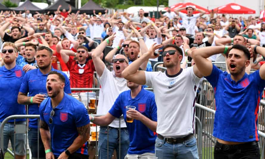 Fans react to a missed chance on goal in England's opening match against Croatia