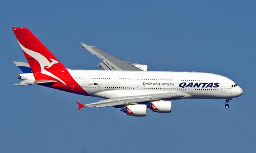 A Qantas A380 plane approaches Melbourne airport