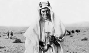 TE Lawrence dressed in ceremonial Arab dress.