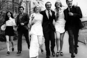 Husbands (1970) with (from left) Noelle Kao, Peter Falk, Jenny Runacre, Ben Gazzara, Jenny Lee Wright and John Cassavetes.