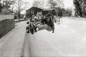 Skating in a backyard pool, San Francisco peninsula, 1977