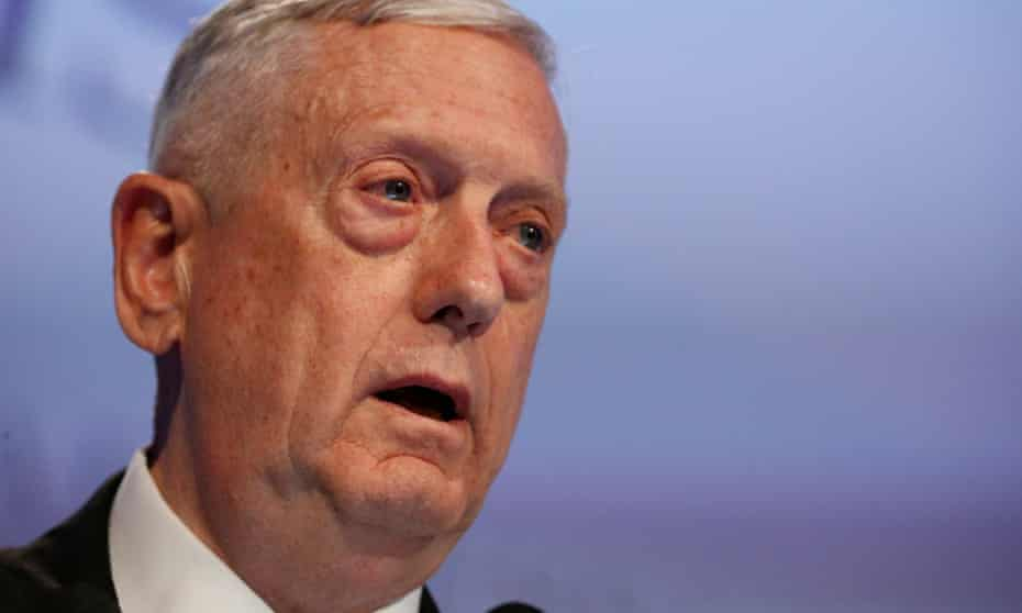 Defense secretary James Mattis at a summit in Singapore, where he faced questions in the wake of Trump's decision to withdraw from the Paris climate accord.