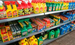 Various brands of weedkiller at a gardening centre in Britain