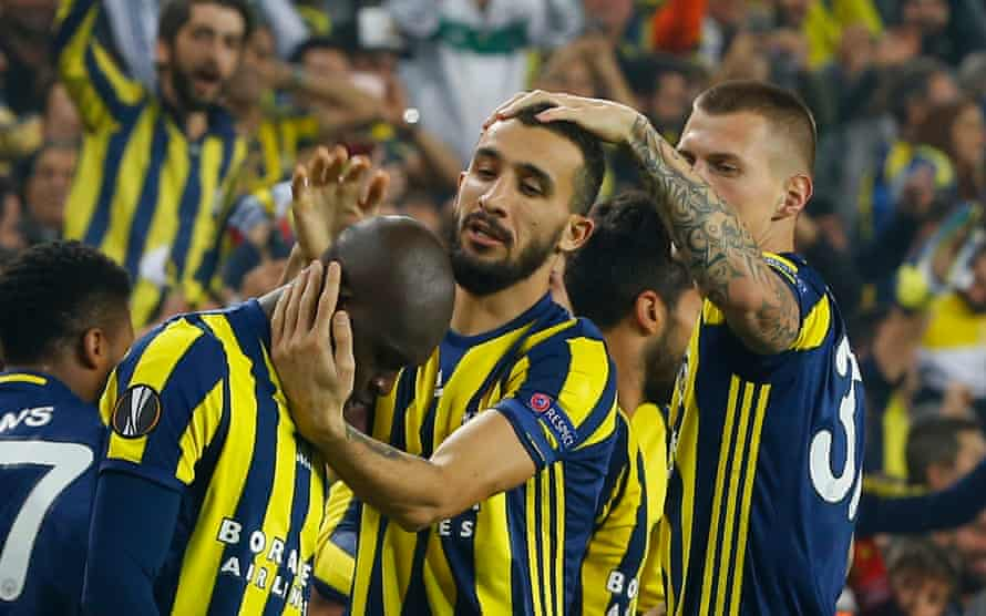 Fenerbahce's Moussa Sow celebrates scoring against Manchester United.