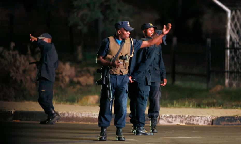 Police keep watch in the capital Maseru