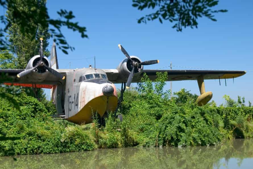 Water plane at Air Museum San Pelagio Castle Due Carrare Veneto Italy.
