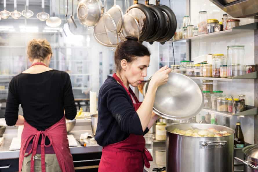 The Kitchen has all-female staff at Olafur Eliasson's Berlin studio. Here Nora Wulff tests the vegetable broth.