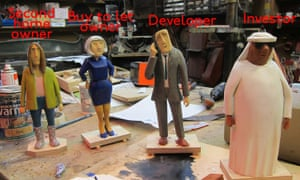 Figurines made by Tim Hunkin for his arcade game The Housing Ladder