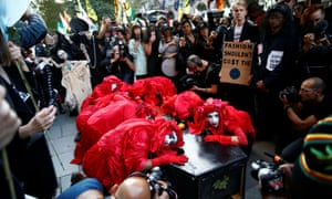 Extinction Rebellion hold a demonstration during London Fashion Week, 17 September, 2019