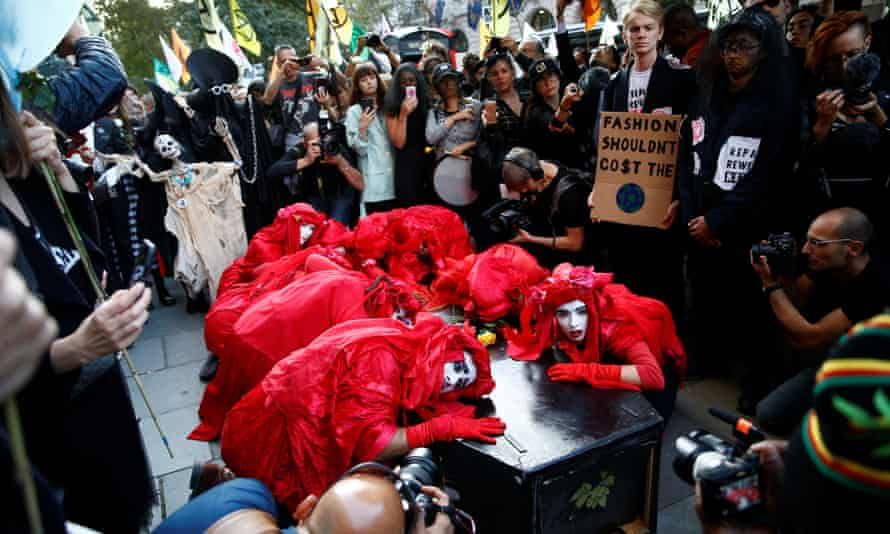 Extinction Rebellion hold a demonstration during London Fashion Week, 17 September, 2019