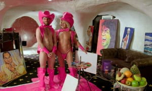 Tim 'Pricasso' Patch and presenter Joel Dommett in their painting outfits.