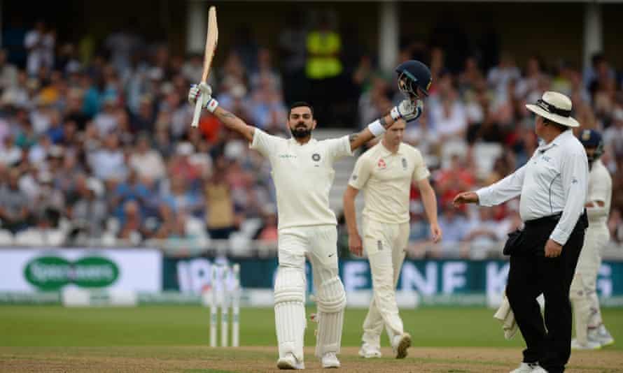 Virat Kohli celebrates a century that has taken India to the brink of narrowing their series deficit, on day three of the third Test at Trent Bridge.