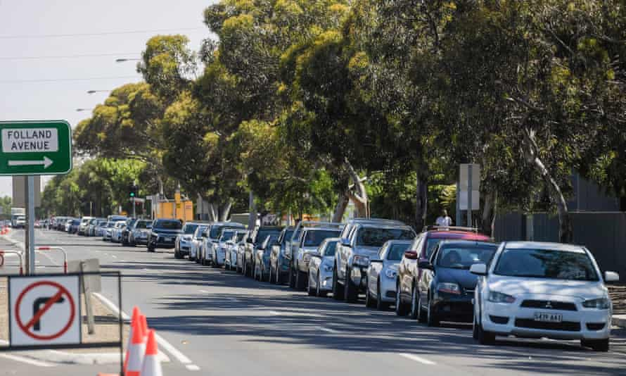 People in cars line up for a Covid test at Hampstead Gardens in Adelaide on Thursday.