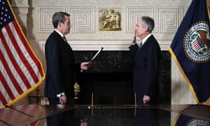 The new federal reserve chair Jerome Powell takes his oath of office on 5 February.