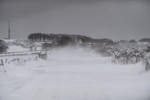Snow covers the ground around Bretton in Derbyshire