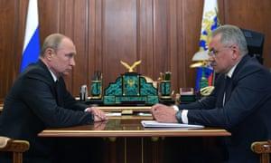 Vladimir Putin and Russian defence minister Sergei Shoigu