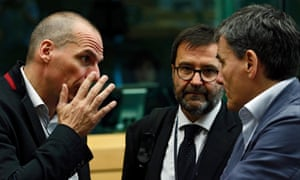 Greek Finance Minister Yanis Varoufakis and colleagues at the start of the Eurogroup meeting at the European Council in Brussels, Belgium, 24 June 2015. A crisis meeting of eurozone finance ministers on Greece could start later than expected, sources say, as separate negotiations between the country and its creditors drag on into the evening. Greek Prime Minister Alexis Tsipras and top representatives from the European Commission, the European Central Bank and the International Monetary Fund met earlier. EPA/JULIEN WARNAND