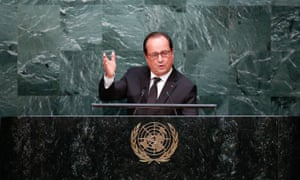 French President Francois Hollande at United Nations Sustainable Development Summit, New York, America - 27 Sep 2015