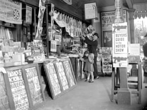 Man and a child at W.H. Smith Bookshop 1934