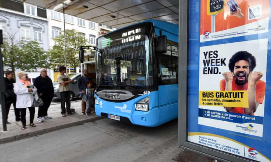 A poster advertising free bus services