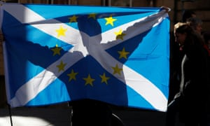 A demonstrator holds a hybrid saltire/EU flag.