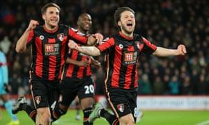 Harry Arter celebrates after scoring against West Ham