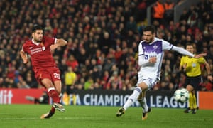 Emre Can of Liverpool scores his sides second goal.