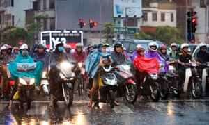 Many riders wear face masks