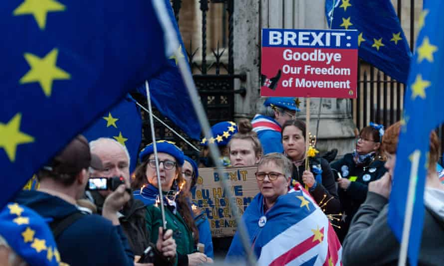 An anti-Brexit protest in London on the eve of Britain's EU exit.
