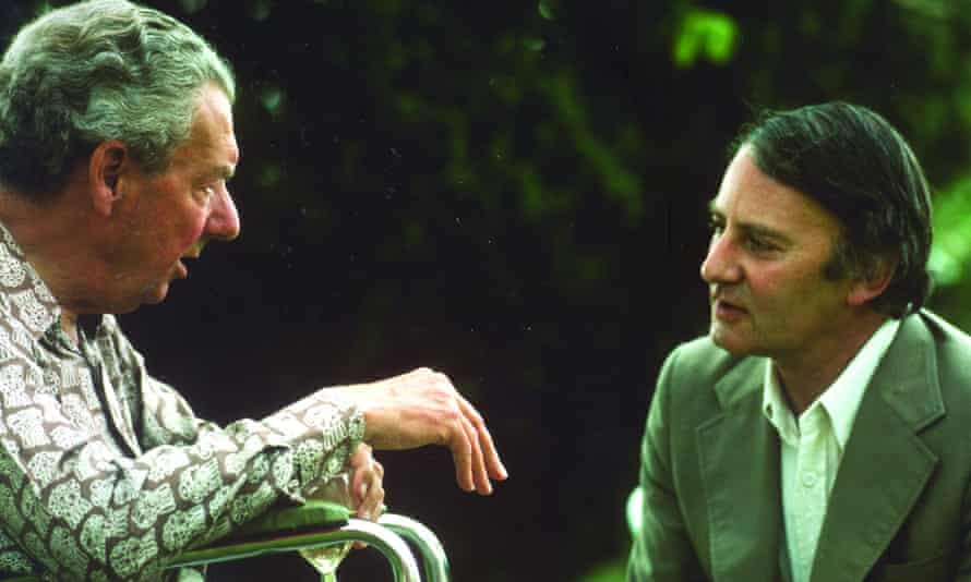 Donald Mitchell, right, talking to Benjamin Britten at the composer's home in Aldeburgh, Suffolk in 1976.