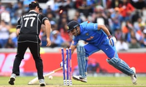 MS Dhoni is run out by Martin Guptill