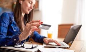 Woman applying for a loan online