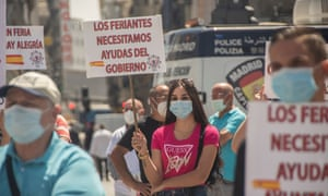 Fairground workers protest in Madrid, calling for state support in the wake of the Covid-19 shutdown.