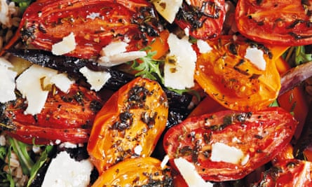Farro, capers, herb-baked tomatoes, roast carrots and Parmesan