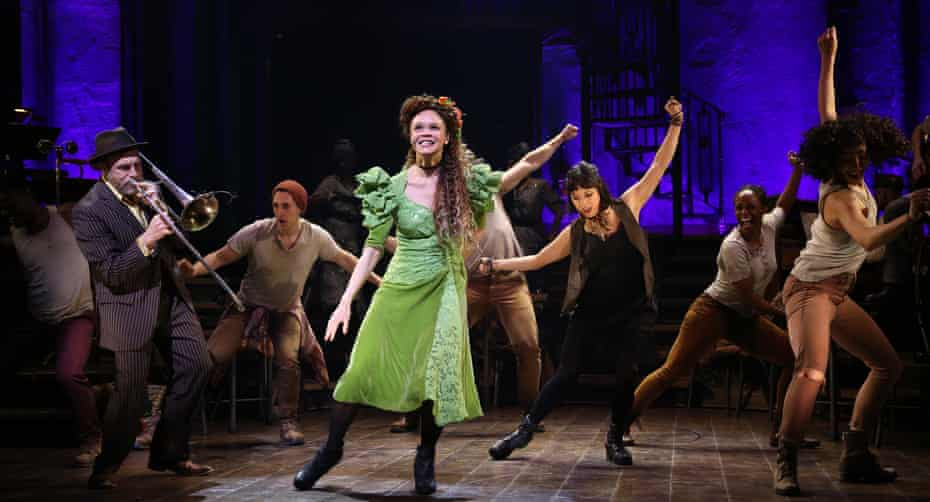 Amber Gray, centre, with the Broadway cast of Hadestown in 2019.