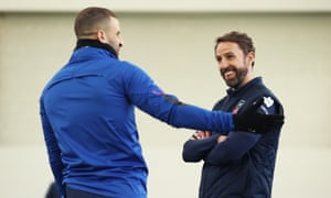 Gareth Southgate chats to Kyle Walker this week as England prepare for their World Cup qualifiers.