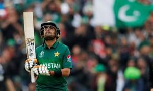 Pakistan's Babar Azam celebrates a half century.